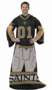 New Orleans Saints Comfy Throw Blanket With Sleeves - Player Design