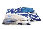 Couleur Nature Suzzani Kantha Throw, 150cm by 150cm , Blue