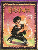 """Harry Potter Tapestry Throw Blanket """"Harry Casts a Spell"""" 100% Cotton"""