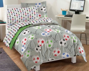 Soccer Ultra Soft Microfiber Comforter Bedding Set, Grey Multi