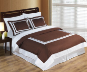 3PC Twin/ Twin XL Bedding Set including 300TC hotel Chocolate/White Duvet set cover set+ White Down Alternative Comforter