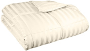 Oversized All-Season Luxurious Wide Stripes Down Alternative Comforter, Full/Queen, Cream