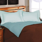 Down Alternative Reversible Microfiber Twin Comforter, Chocolate/sky Blue