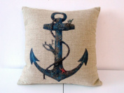"""Decorbox Cotton Linen Square Throw Pillow Case Decorative Cushion Cover Pillowcase for Sofa Blue Rusty Anchor with Coral 46cm X18 """""""