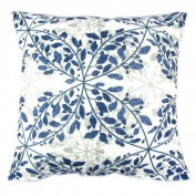 Blue Leaves Print Reactive Dyeing Polyester Throw Pillow Covers Pillowcase Sham Decor Cushion Slipcovers Square 50cm x 50cm