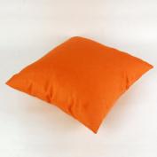 Lavievert Decorative Cotton Square Toss Pillowcase Cushion Case Handmade Pure Orange Throw Pillow Cover with Invisible Zipper Closure 50cm X 50cm