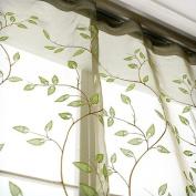 ElleWeiDeco Modern Embroidered Green Leaf Sheer 130cm w X 210cm l Window Curtain/drape/panel