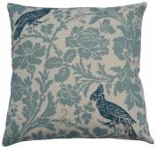 JinStyles Cotton Canvas Floral Parrot Accent Decorative Throw / Toss Pillow Cover