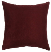 Dreamhome - Solid Faux Suede Pillow Cover, 46cm X 46cm - Burgundy