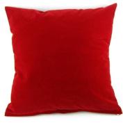 Dark Red Solid Colour Flocking Velvet 100% Polyester Throw Pillow Covers Pillowcase Sham Decor Cushion Slipcovers Square 48cm x 48cm