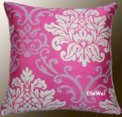 Decorative Modern Pink Damask Throw Pillow Cover