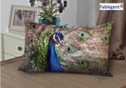Fablegent Elegant Decorative Throw Pillow Cover - Rectangular Peacock Fashion Design on Both Sides - Soft Velvet Fabric - XH103