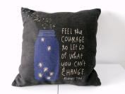 """Decorbox Black Cotton Linen Square Throw Pillow Case Decorative Cushion Cover Pillowcase Bottle and Firefly with Sayings 46cm X18 """""""