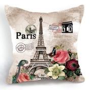 OJIA Retro Vintage Paris Eiffel Tower Home 46cm X 46cm Cotton Linen Decorative Throw Cushion Cover / Pillow Sham