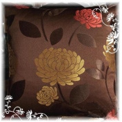Decorative Mocha Orangered Floral Throw Pillow Cover