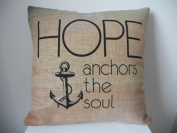 "Decorbox Cotton Linen Square Throw Pillow Case Decorative Cushion Cover Pillowcase Hope Anchor 46cm X18 """