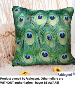 FablegentXH5 - Elegant Decorative Throw Pillow Cover - Peacock Feathers Design on Both Sides - Soft Velvet Fabric - Return shipping covered for continental US regions
