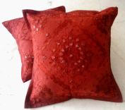 2 Red Handcrafted Ethnic Mirror Work Embroidery Indian Throws Pillow Cases Toss Cushion Covers