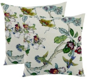 ElleWeiDeco Magnolia Flower and Bird White Throw Pillow Cover