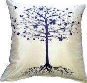 Artiwa Modern Sofa Bed Decorative Silk Pillow Cover Cream with Tree 46cm x 46cm - Best Gift Recommend