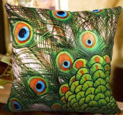 XH105 - Elegant Decorative Throw Pillow Cover - Peacock Feather Fashion Design on Both Sides - Soft Velvet Fabric