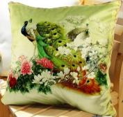 Elegant Decorative Throw Pillow Cover - Peacock Design on Both Sides - Velvet Fabric - XH2