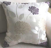 ElleWeiDeco Emboidered Beige Light Blue / Purple Floral Throw Pillow Cover