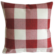 Red White Checkers Plaids Throw Pillow Case Sham Decor Cushion Covers Square 46cm x 46cm Linen