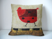 """Cotton Linen Square Decorative Throw Pillow Case Cushion Cover Green Background Red Chicken 46cm X18 """""""