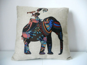 """Cotton Linen Square Decorative Throw Pillow Case Cushion Cover Girl with Elephant 46cm X18 """""""
