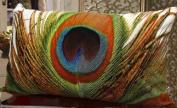 FablegentXH109 - Elegant Decorative Throw Pillow Cover - Rectangular Peacock Feather Fashion Design on Both Sides - Soft Velvet Fabric