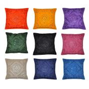 Indian Decor Handmade Cotton Cushion Cover Pillow Covers, 41cm X 41cm , 10 Pcs Lot
