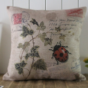 Decho Seven-spotted Ladybug Ladybird insects Coccinella Septempunctata Green Leaf Linen Cushion Cover Pillow Case