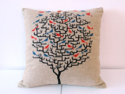 """Decorbox Cotton Linen Square Throw Pillow Case Decorative Cushion Cover Pillowcase for Sofa Red Birds on Tree 46cm X18 """""""
