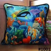 Fablegent Elegant Decorative Pillow / Cushion Cover - Tropical Fish, Sea World Design on Both Sides - Velvet Fabric - Multi Selections