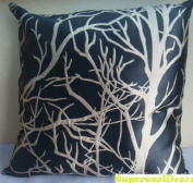Modern Black - Taffeta Satin with Branches Pattern Design on Both Sides - 46cm x 46cm Throw Pillow / Cushion Cover
