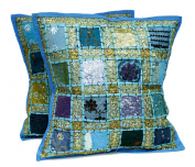 2 Blue Embroidery Sequin Patchwork Indian Sari Throw Pillow Krishna Mart Cushion Covers
