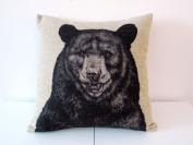 "Decorbox Cotton Linen Square Throw Pillow Case Decorative Cushion Cover Pillowcase for Sofa Animal Black Bear 46cm X18 """
