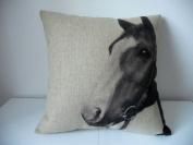 "Cotton Linen Square Decorative Throw Pillow Case Cushion Cover Horse 46cm X18 """