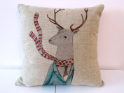 Decorbox Cotton Linen Square Throw Pillow Case Decorative Cushion Cover Pillowcase for Sofa Fashion Deer 46cm X18 ""