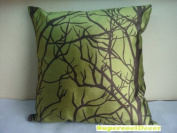 Modern Green-Yellow Taffeta Satin with Branches Pattern Design on Both Sides - 46cm x 46cm Throw Pillow / Cushion Cover
