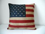 """Cotton Linen Square Decorative Throw Pillow Case Cushion Cover US Flag 46cm X18 """""""