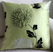 ElleWeiDeco Modern Green with Flocking Black Floral Throw Pillow Cover