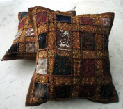 2 Brown Embroidery Sequin Patchwork Indian Sari Throw Pillow Cushion Covers