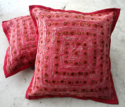 2 Red Mirror Work Embroidery Indian Sari Throw Pillow Toss Cushion Covers