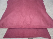 Two Bonded Micro Suede Cushion Case Throw Pillow Covers, Burgundy or Maroon