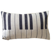 Piano Keyboard Simple Music Throw Pillow Case Decor Cushion Covers Oblong 20*30cm Beige Cotton Blend Linen