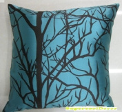Modern Cyan Blue - Taffeta Satin with Branches Pattern Design on Both Sides - 46cm x 46cm Throw Pillow / Cushion Cover
