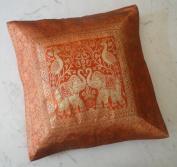 Traditional Ethnic Indian Elephant Embroidered Silk Orange Rust Throw Cushion Pillow Cover Banarasi Brocade Work