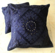 2 Blue Handcrafted Ethnic Mirror Work Embroidery Indian Throws Pillow Cases Toss Cushion Covers
